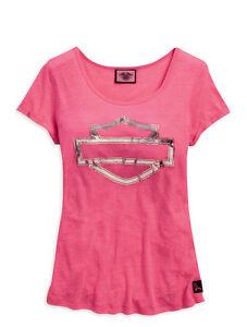 Harley-Davidson Women's Tee, Pink Label Metallic Bar & Shield 99119-15VW
