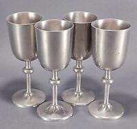 4 Vintage Old Newbury Pewter Cordial Goblet Cups