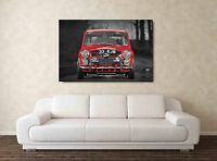 CLASSIC MINI COOPER WALL ART S 20X30 INCH FRAMED HD CANVAS RALLY MOTORSPORT MAY