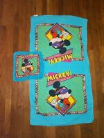Vtg ~ Walt Disney Mickey Mouse Blue Franco Beach Towel and Hand Towel Set Cotton