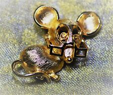 70s Avon Mouse Pin Brooch 14K GP Amber Color Rhinestones Articulated Spectacles