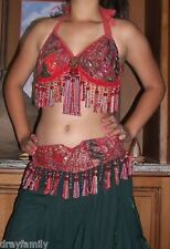 "BELLY DANCE CORAL RUSTY RED SARI TRIBAL FRINGE TASSEL BRA & BELT SET "" C "" Cup."