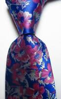 New Classic Floral Blue Red White JACQUARD WOVEN 100% Silk Men's Tie Necktie