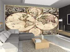 Antique World Map Photo Wallpaper Wall Mural DECOR Paper Poster Wall Free Paste