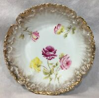 "Dresden 9"" Serving Bowl Scalloped Gold Edges Roses Flowers Gilt"