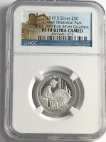 2019 S NGC PF70 ULTRA CAMEO .999 SILVER LOWELL HISTORICAL PARK QUARTER 25c
