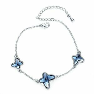 Butterfly Chain Bracelet Blue Crystals From Swarovski Xmas Gifts For Her Women