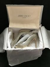 Jimmy Choo 'Crown' Peep Toe Pumps – Champagne Gold/Silver Glitter Fabric