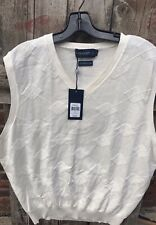New Size XL Ralph Lauren $165 Polo Golf Pima Cotton Argyle Vest -Off White