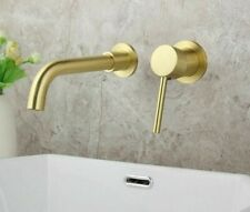 Wall Mounted Mixer Water Taps Contemporary Style Brushed Nickel Bathroom Faucets
