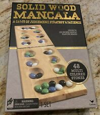 Mancala Game Folding Board 48 Colored Stones Cardinal Solid Wood Ages 6+