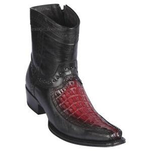 "Men's Los Altos Genuine Caiman Tail Ankle Boots Stitched Vamp 6"" Shaft"