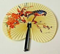 ANCIEN EVENTAIL CHINOIS TABLEAU DECOR OISEAU  FLORAL