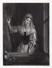 "Charming Gilbert Stuart Newton 1800s Engraving ""A Dutch Girl"" SIGNED Framed COA"