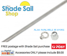 M8 8mm Threaded Rod 1m length 316 Grade stainless steel Shade sail accessory