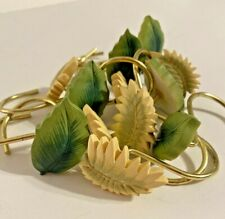 Shower Curtain Hooks - Green Leaf and Ivory Fern Frond - Set of 12 - 6 Each