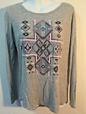 SILVER Jeans Co Heathered Gray Beaded Native American Print Top NWT XL