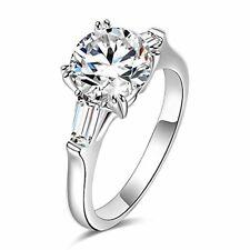 espere Sterling Silver 2 Carat CZ Baguette Round Solitaire Engagement Ring Brida