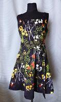 KAREN MILLEN Black Floral Fit & Flare Dress Size US 10 UK 14 Sleeveless