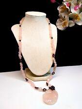 Carved Natural Rose Quartz & Pyrope Garnet Breaded Necklace