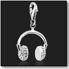 925 Sterling Silver Headphones Clip on Bracelet Charm Swarovski Crystal 3D White