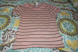 GIRLS BLOUSE SIZE XS 8 PINK WHITE AND BLACK STRIPED SHORT SLEEVES