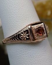 Natural Garnet Ring/ Sterling Silver & Rose Gold Deco wedding[Made To Order]#155