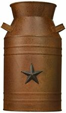NEW Craft Outlet Milk Can Container with Star Attached Decor 10.5 Inch Rust