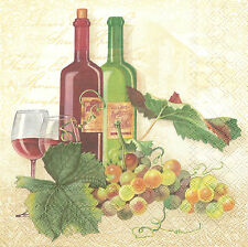 2 Serviettes en papier Vin Raisin Decoupage Paper Napkins Wine & Grapes