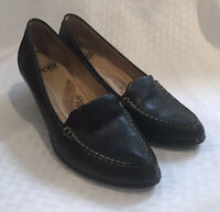 Sofft Women's Size 8 Black Leather Career Pump Low Heel Slip On Shoe Pointed Toe