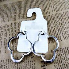 Boucles d`Oreilles Creole Anneau Argenté Trefle Metal Simple Retro M2