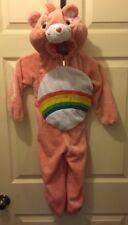 CARE BEAR PINK COSTUME COSPLAY Sz 3T-4T Cheer Rainbow Plush Hooded Zipper EUC