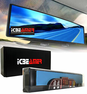 """Broadway 14"""" Convex Blue Tint Interior Rearview Mirror Snap on Blind Spot H62"""