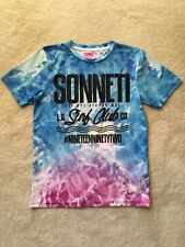 Fab Sonneti Boys Age 12-13 Turquoise White Pink Cloud Theme Tshirt With Logos