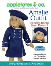 """American Girl Doll Sewing Pattern - Amalie Outfit Sewing Pattern for 18"""" Dolls"""