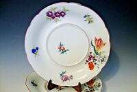 """Vintage White/Handpainted Colorful Flowers Under Buillon Plate - 7 1/4"""" across"""