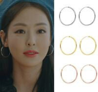18K Gold 925 Sterling Silver 2mm Thick Round Endless Hoop Earrings 10-30MM D36