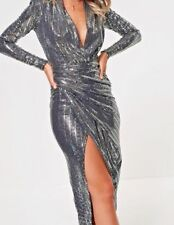 John Zack Sequin Wrap Over Deep Plunge Silver Midi Dress size 14