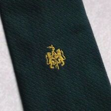 SERPENT & Lions Crest Motif Cravate Rétro Vintage Club Association Green Gold 1970 S
