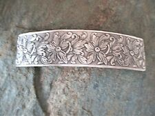Antiqued Floral Silver Plated French Clip Hair Barrette 80MM  Made in USA 6025S