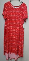 Lularoe Carly Dress 2XL Red Southwest Print Swing Tee Shirt Hilo Hem NWT
