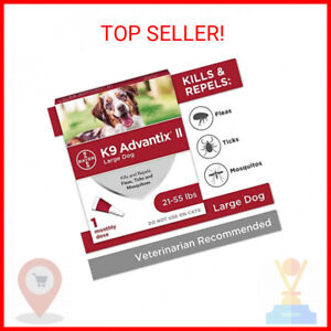 K9 advantix II Flea and Tick Prevention for Large Dogs, 21-55 Pounds, red (8 …