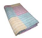 Indian Handmade Patchwork Kantha Quilt Queen Size Multi Cotton Blanket Bedspread
