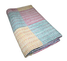 Indian Handmade Patchwork Kantha Quilt Queen Size Multi Cotton Blanket Bedspread