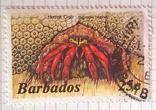 Barbados stamp - Scarlet Reef Hermit Crab   1986   25c - FREE P & P