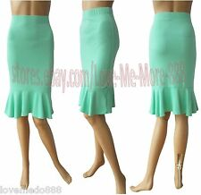 Celebrity Club Wear to Work Ruffle Fishtail Pencil Stretch Knee Skirts GREEN XL