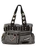 Banned Striped Punk Goth Nugoth Rock Emo Handcuff Canvas Shoulder Bag Handbag