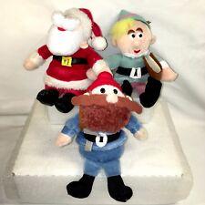 3 1999 Prestige Toy Corp Rudolph Misfit Plush Ornaments Yukon Hermey Santa Lot