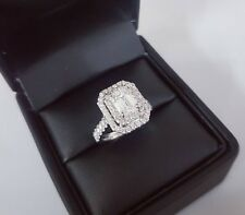Engagement Solitaire Ring In 14K White Gold Fn 2.50ct Emerald-Cut Halo Diamond