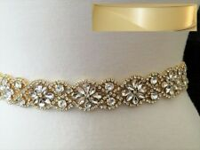 "GOLD CLEAR CRYSTAL Wedding Bridal Dress SASH BELT = 19.5"" long = IVORY"